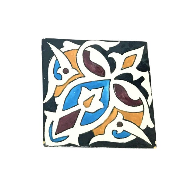 Hand Painted Large Moroccan Decorative Cement Tile - Image 1 of 2