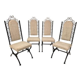 Vintage Mid-Century Virtue Brothers of California Wrought Iron Dining Chairs - Set of 4 For Sale