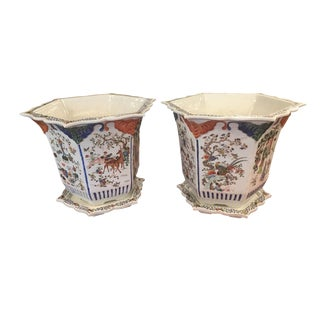 19th Century Antique Asian Hexagonal Enameled Porcelain Chinese Export Planters - a Pair