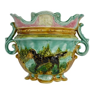 Antique Majolica Barbotine Hunting Dog Cachepot For Sale