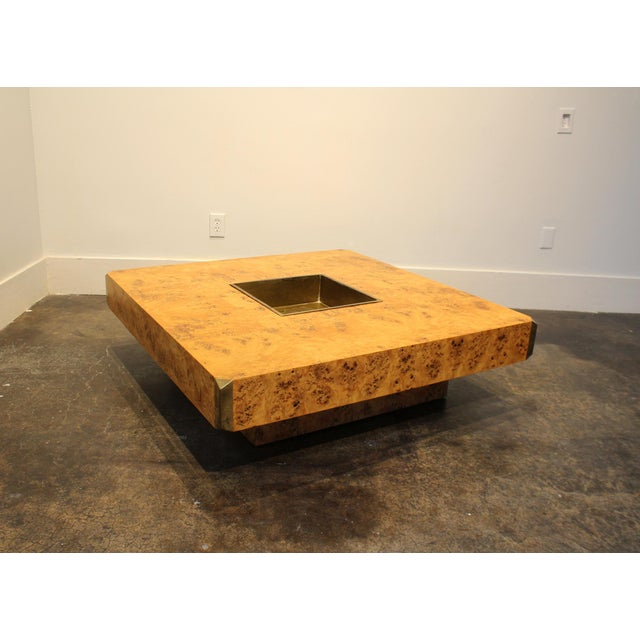 1970s 1970's Italian Willy Rizzo Burl Wood and Brass Coffee Table. For Sale - Image 5 of 8