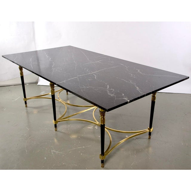 1940s Italian Directoire Style Table With Black Marble Top and Brass Base For Sale - Image 5 of 13