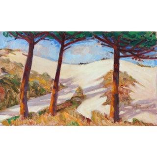 "Frederick Pomeroy ""Coastal Sand Dunes & Cypress"" Landscape Oil on Linen Painting, 20th Century For Sale"