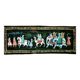 Antique Indian Ottoman Mughal Elephant and Camel Silk Fabric Painting For Sale