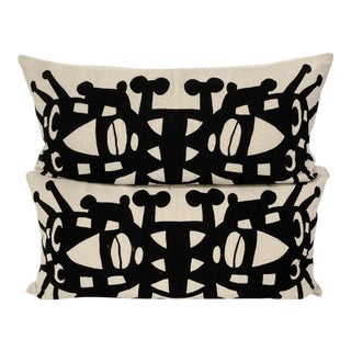 """Modern Cb2 Mirror Image """"Vincent"""" Pillows - a Pair For Sale"""
