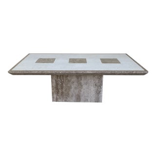 1980s Postmodern Two-Tone Marble Coffee Table For Sale