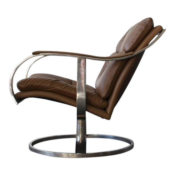Gardner Leaver for Steelcase Leather Lounge Chair For Sale