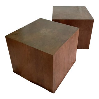 1960s Mid-Century Modern Harry Lunstead Brass and Walnut Side Tables - a Pair For Sale