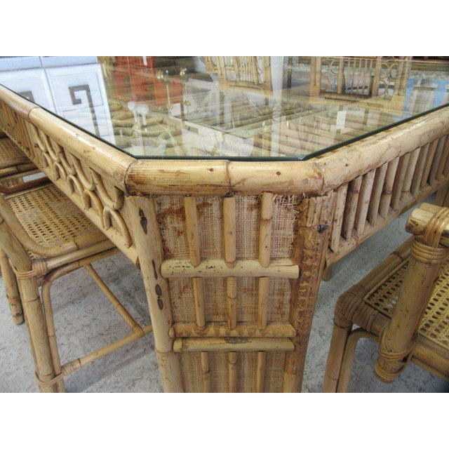 Bamboo & Seagrass Fretwork Dining Table - Image 8 of 11