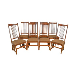 Pennsylvania House Mission Oak Style Set of 8 Spindle Back Dining Chairs For Sale