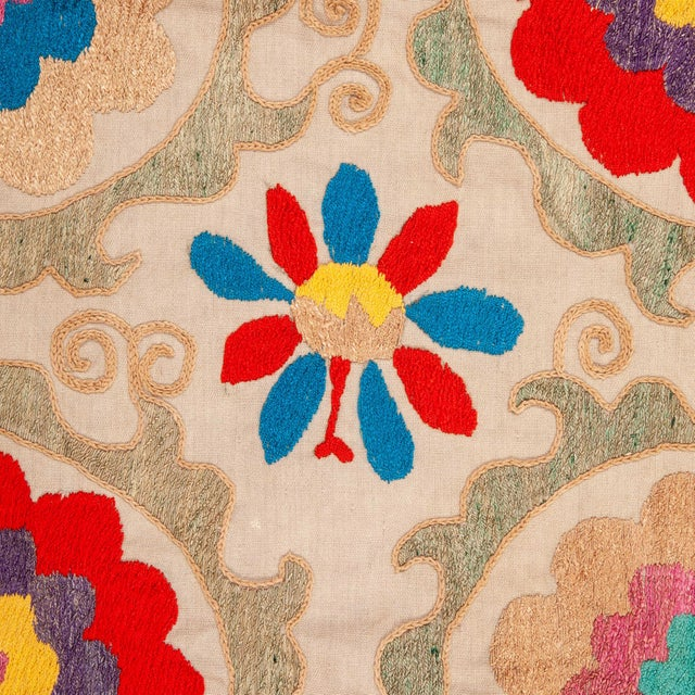 Asian Vintage Colorful Hand Embroired Suzani Textile Bukhara Uzbekistan For Sale - Image 3 of 10