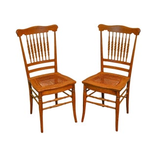 Victorian Oak Antique Spindle Back Cane Seat Pair of Side Chairs For Sale