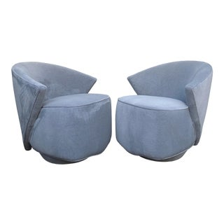 Post Modern Angular Armchairs in Mohair by Directional - a Pair For Sale