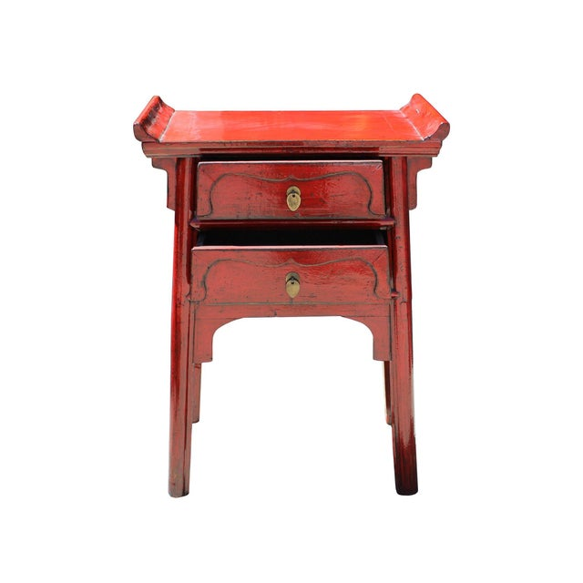 Chinese Distressed Red Point Edge Narrow Slim Foyer Side Table For Sale In San Francisco - Image 6 of 7