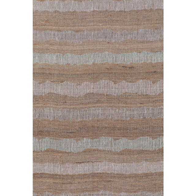 Contemporary Indian Handwoven Bedcover Ocean Stripe For Sale - Image 3 of 5