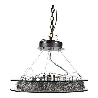 Italian Modern Chrome & Glass Chandelier