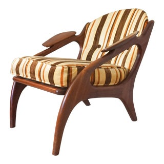 1960s Vintage Adrian Pearsall Walnut Lounge Chair For Sale