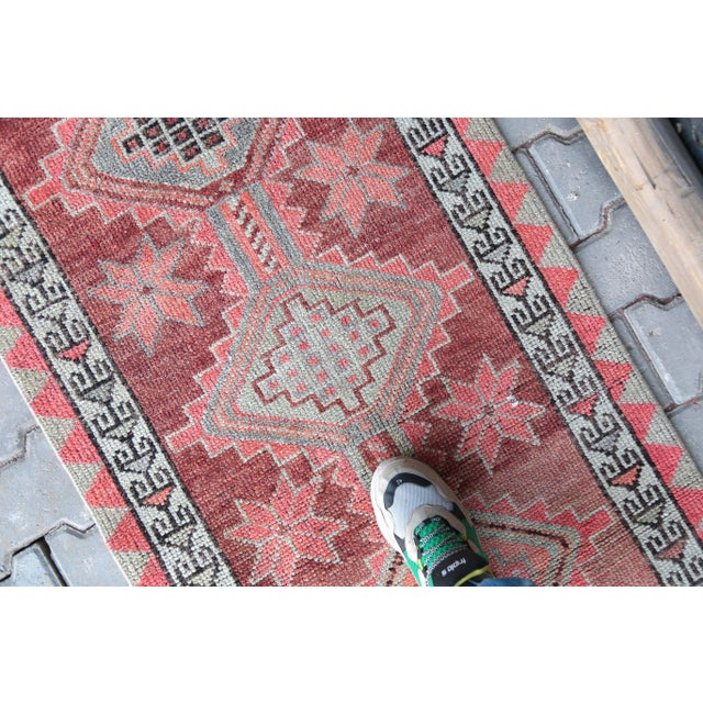 """1950's Vintage Turkish Hand-Knotted Hallway Runner Rug - 2'6"""" X 12'9"""" For Sale - Image 4 of 11"""