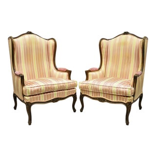 Vintage Mid Century French Louis XV Style Wingback Bergere Armchairs - A Pair For Sale