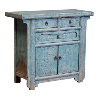 Chinese Blue Painted Cabinet For Sale