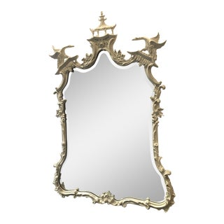 1960s Chippendale Style White Mirror For Sale