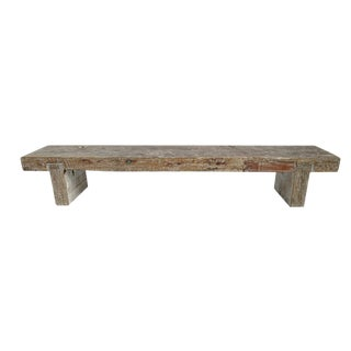 Whitewash Teak Slab Bench For Sale