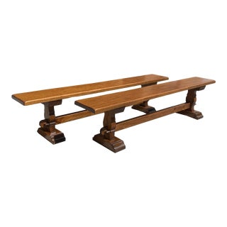 1900s Long Pair of French Solid Oak Monastery Trestle Benches. For Sale