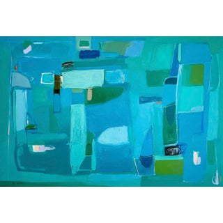 """""""Fish in the Sea"""" Contemporary Abstract Expressionist Mixed-Media Painting by Rebecca Jack For Sale"""