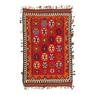 Red Persian Shiraz Kilim 4'9'' X 7'11'' For Sale