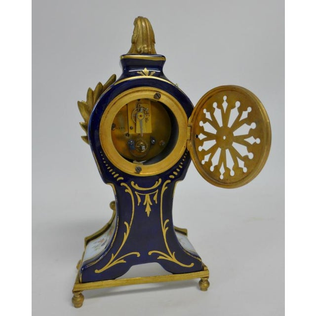 Metal 20th Century Belle Epoque Gilt Bronze Mounted Porcelain Clock For Sale - Image 7 of 12