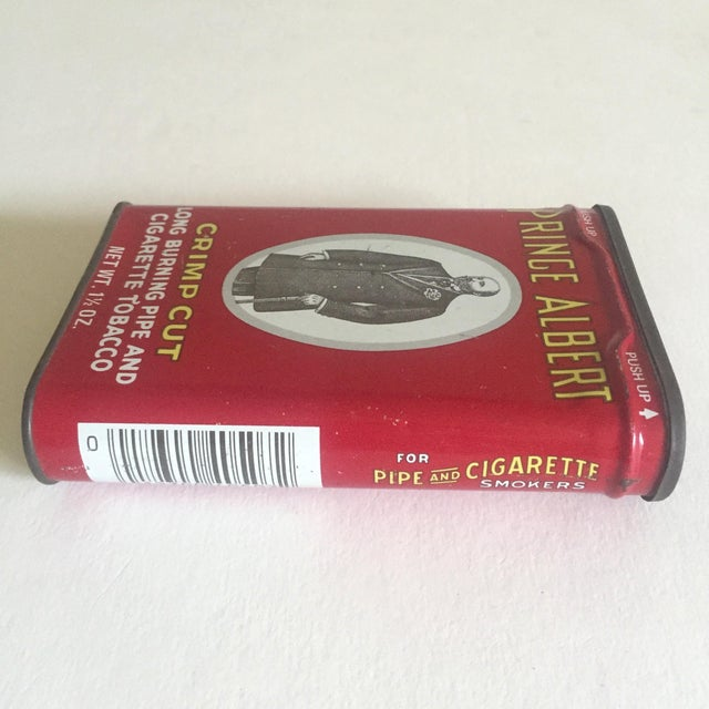 "Vintage 1970's ""Prince Albert Crimp Cut"" Lithograph Tobacco Tin Oval Box For Sale - Image 10 of 11"