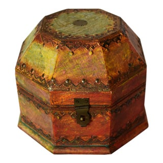 20th Century Moroccan Painted Wooden Box For Sale