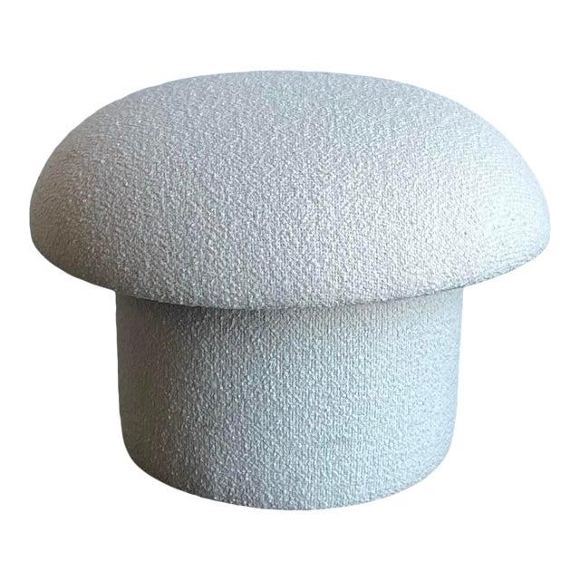 White Boucle Shroom Ottoman For Sale