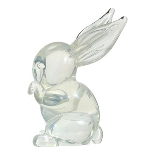 Archimede Seguso Murano Iridescent Italian Art Glass Bunny Rabbit Figurine For Sale