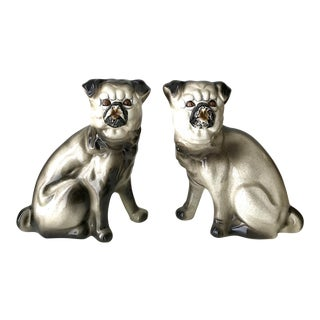 Vintage Ceramic Pug Bookends - A Pair For Sale