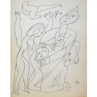Jennings Tofel Figurative Line Drawing in Ink, Early 20th Century For Sale