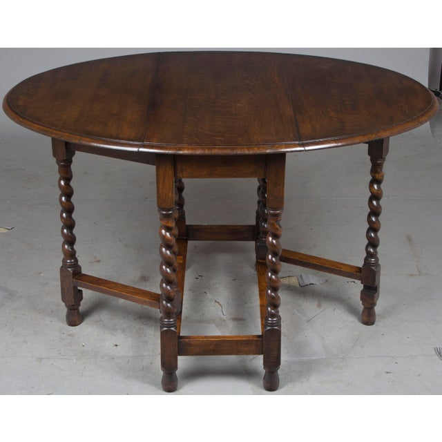1920s Jacobean Oak Gate Leg Drop Leaf Side Table For In Atlanta Image 6