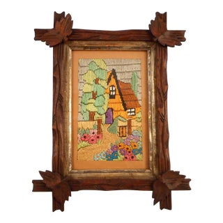 Arts & Crafts - Victorian Silk Embroidery House and Garden in Black Forest Frame For Sale