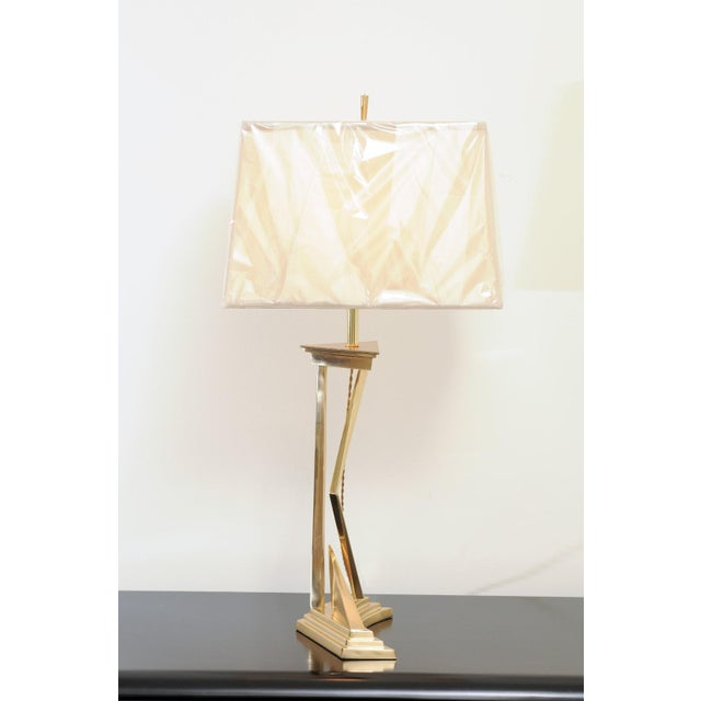Mid-Century Modern Exquisite Pair of Modern Brass Lamps, Circa 1960 For Sale - Image 3 of 10