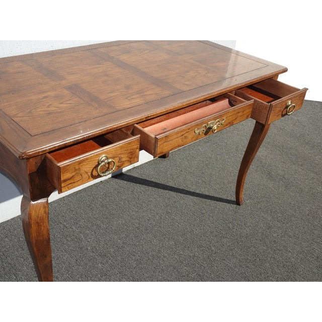 Vintage French Country Henredon Oak Writing Desk W Three Drawers For Sale In Los Angeles - Image 6 of 13