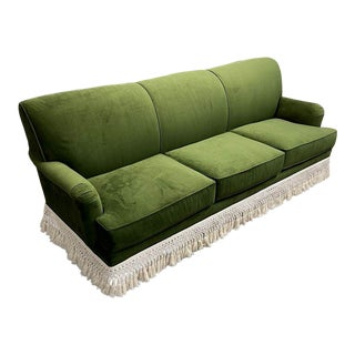 Custom Green Fringed Velvet Sofa