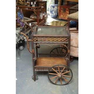 Superior Antique Wicker Bar / Tea Cart Preview