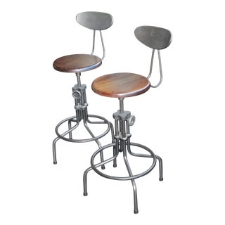 Wood & Iron Industrial Drafting Style Counter Stools - A Pair For Sale
