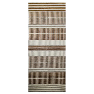 Hand Knotted Natural Wool & Cotton Navajo Rug - 8′ × 22′ For Sale