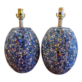 Broken China Mosaic Lamps - a Pair For Sale