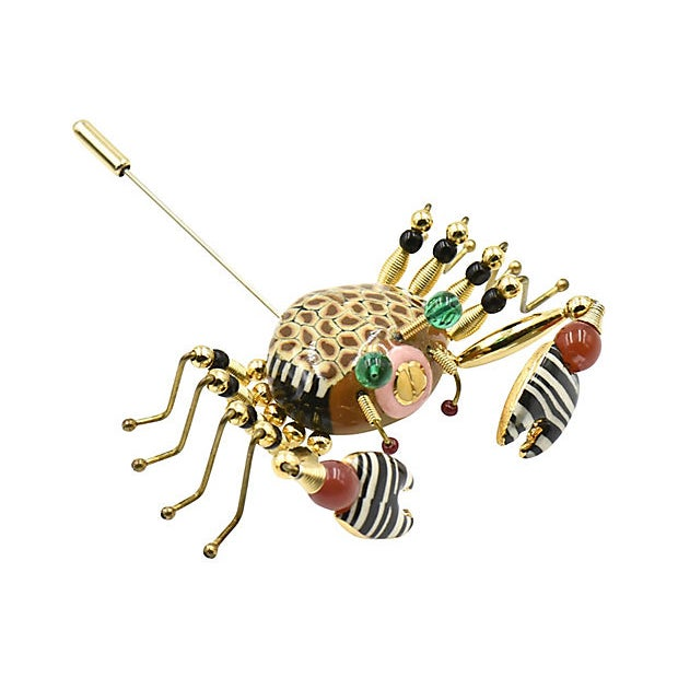 Ceramic Crab Crawler Brooch by Jewelry 10 For Sale - Image 7 of 7