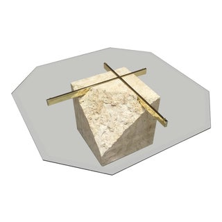 Maitland-Smith Style Tessellated Stone Brass & Glass Coffee Table For Sale