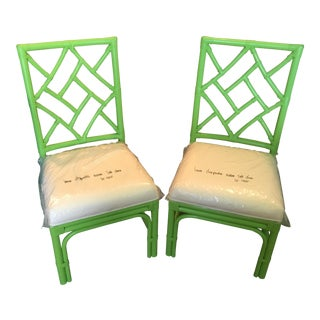 Chippendale Green Rattan Side Chairs - a Pair