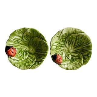 2 Italian Cabbage Leaf Bowls-LadyBugs For Sale