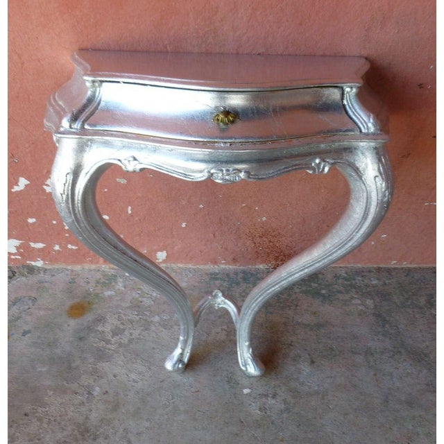 Silver 1960s Mid Century Modern Silver Leaf Wall Console Table For Sale - Image 8 of 8